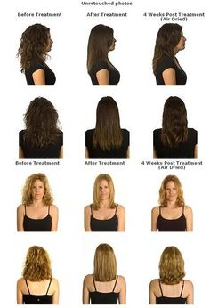 Before and after shots of the Liquid Keratin Treatment.