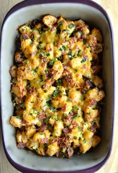 Loaded Baked Potato and Buffalo Chicken Casserole | Healthy Dinner Recipes