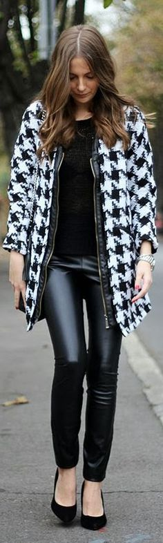 #Houndstooth #Coat ...  by Fashion And Style