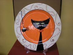 cat and spider plate ccsa submission Halloween Rocks, Halloween And More, Halloween Crafts, Halloween Decorations, Halloween Ideas, Pottery Painting, Ceramic Painting, Ceramic Art, Painted Plates