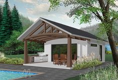 Go small or use this tiny house as a vacation getaway.A large front porch extends the living space and has plenty of room for table and chairs.You can cook indoors or out on the porch in the summer ki Pool House Shed, Pool House Plans, Small House Plans, Modern Pool House, Backyard House, Backyard Slide, Shed To Tiny House, Pool House Designs, Backyard Patio Designs