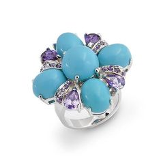Amethyst Cubic Zirconia Turquoise Cocktail Ring