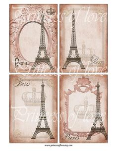 Eiffel tower - Digital Collage Sheet - Printable download - gift tags - Greeting Cards