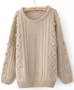 Free Shipping Khaki Round Neck Long Sleeve Pom Embellished Pullovers Sweater