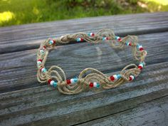 Natural Wave Knot Hemp Anklet by ThreadedChains on Etsy, $9.00