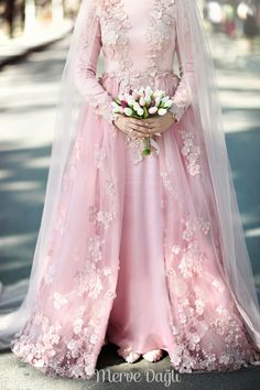 2016 Detachable Skirt Long Sleeve Muslim Wedding Dress Pink High Neck Islamic Wedding Gowns Appliques robe de mariage musulman(China (Mainland))