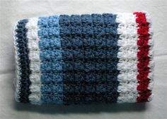 Hand Crochet baby blanket, Baby Boy Blanket, Baby Girl Blanket, mini afghan, stroller blanket, Nautical Red, White and Blues