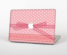 """The Subtle Pink Polka Dot with Ribbon Skin Set for the Apple MacBook Pro 15"""" with Retina Display from Design Skinz"""