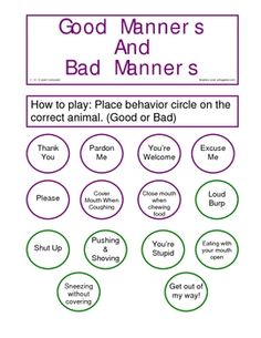 Worksheet Good Manners Worksheet words worksheets and word search on pinterest i like the concept of comparing good manners vs bad but i