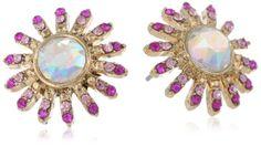 """Amazon.com: Betsey Johnson """"Paris is Always a Good Idea"""" Gem Flower Stud Earrings: Jewelry"""