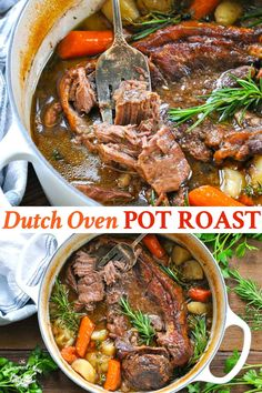 Tender and juicy, this Dutch Oven Pot Roast transforms an affordable cut of meat into a delicious comfort food dinner. The beef slowly bakes with potatoes and carrots for an easy one pot meal. Your whole family will love this classic Sunday pot roast recipe! Chuck Roast Recipe Chuck Roast Dutch Oven, Dutch Oven Pot Roast, Dutch Oven Cooking, Dutch Oven Meals, Brisket Recipe Dutch Oven, Recipe For Pot Roast In The Oven, Dutch Oven Potatoes, Easy Dutch Oven Recipes, Easy Pot Roast