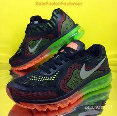 4f2e2d066c9 Nike Mens Air Max Running Trainers Black Orange size 8.5 2014 Sneaker US  9.5 43
