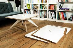 Table made from a single sheet of plywood, with legs cut from the corners of the top
