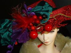 Holiday Doll Hat  BJD Couture Doll hat Handmade by susanlake1, $130.00