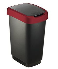 Rotho 2044020 Twist Bin Black/ruby Red 50 L