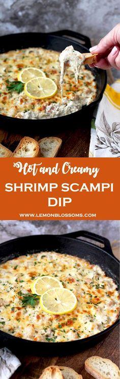Hot and Creamy Shrimp Scampi Dip ~ succulent shrimp, garlic, lemon zest, cream cheese, mozzarella and parmesan make this dip a party favorite! Creamy Shrimp Scampi, Shrimp Dip, Baked Shrimp, Garlic Shrimp, Yummy Appetizers, Appetizer Dips, Appetizer Recipes, Fish Recipes, Seafood Recipes