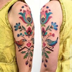 colorful new idea for arm tattoos nueva idea colorida para tatuajes de brazo # tätowierung # tätowierungskunst y arte corporal Pretty Tattoos, Unique Tattoos, Beautiful Tattoos, Colorful Tattoos, Tattoo Henna, Get A Tattoo, Bodysuit Tattoos, Tattoo Girls, Swedish Tattoo