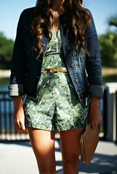 palm print romper and denim jacket