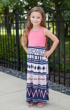 The Pink Lily Boutique - Crushing On Aztec Kids Coral Maxi , $26.00 (http://thepinklilyboutique.com/crushing-on-aztec-kids-coral-maxi/)