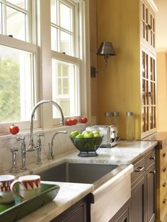 Kitchen: Cabinet hutch with abbreviated counter, sconce, under-mount farmhouse sink Farmhouse Sink Kitchen, Kitchen Nook, Kitchen Color, Kitchen Space, Modern Faucet, Kitchen Dining, Home Kitchens, Kitchen Style, Kitchen Design