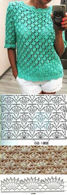 "Hermoso y sencillo. Beautiful and easy to make [ ""crochelinhasagulhas: Crochê na net Mais"", ""Beautiful and easy to make"", ""Crochet blouse with a beautiful pattern."", ""Posts on the topic of вязалки вышивалки added by Наталия Савкина"", ""I can Cardigan Au Crochet, Gilet Crochet, Crochet Motifs, Crochet Jacket, Crochet Diagram, Crochet Stitches Patterns, Crochet Cardigan, Crochet Shawl, Stitch Patterns"