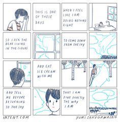 A weekly intent comic about being kind to yourself. By comic book artist Yumi Sakugawa.
