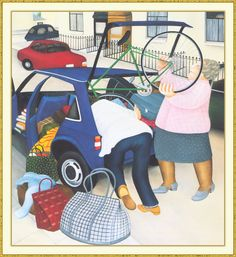 Packing the Car. Artwork by Beryl Cook English Artists, British Artists, Beryl Cook, Plus Size Art, British Schools, Fat Art, Funny Sexy, Funny Art, Large Art