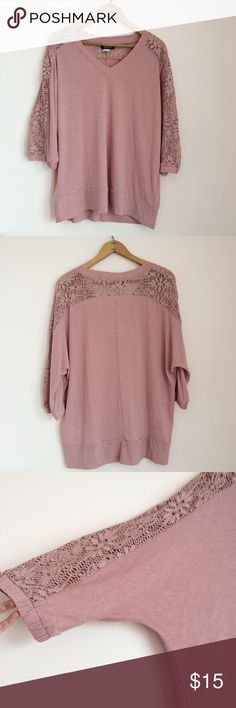Venus Crochet Inset Top Blush pink top with crochet inset across back and down sleeves. Size L. 3/4 sleeves. Excellent condition  Venus Tops Tunics