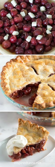 Cherry pie recipe with a lightly sweetened filling with fresh cherries, vanilla and almond extract. It's to die for. From inspiredtaste.net | @inspiredtaste