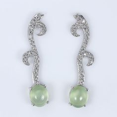 RARE!! 12 CT GEM WEIGHT! NATURAL AAA PREHNITE 925 SILVER DANGLE EARRINGS 2""