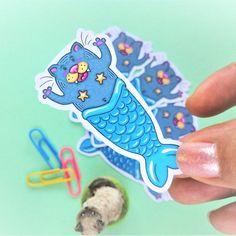 Mermaid Cat Cat Fish Sticker Cat Lovers Stickers Cat Art   Etsy Cat Lover Gifts, Cat Lovers, Mermaid Cat, Cat Stickers, Im Crazy, Love Drawings, Catfish, Cat Cat, My Etsy Shop