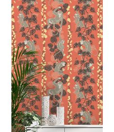 An Art Deco design, the 5 Monkeys Wallpaper was inspired by Oriental culture where monkeys represent good fortune. Shop with Afterpay! Powder Room Wallpaper, Art Deco Wallpaper, Home Wallpaper, Black Wallpaper, Wallpaper Roll, Designer Wallpaper, Accent Wallpaper, Wallpaper Designs, Monkey Wallpaper