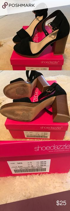 Shoedazzle Taryn Size 9 shoe Shoedazzle Taryn Size 9 heeled sandals in black suede with a great block heel. Worn once. 4 inch heel. Box included. Shoe Dazzle Shoes Sandals