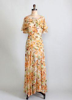 Vintage 1930s floral lawn party dress