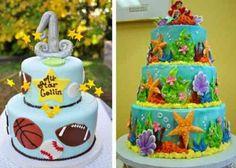 Gâteaux à étages orné de motifs sportifs ou marins avec la petite sirène