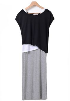 Love the Layers! Chic and Comfy Black Grey White Triple Layered Look Pieces Asymmetric Wrap Cotton Dress #Layers #Chic #Comfy #Grey #Black #White #Fashion