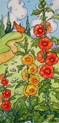 """Storybook Cottage Series Just Past the Hollyhocks"" - Original Fine Art for Sale - © Alida Akers"