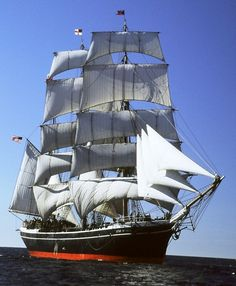 The Star of India under full sail in open ocean off Point Loma Moby Dick, Old Sailing Ships, Full Sail, Wooden Ship, Yacht Boat, Sail Away, Submarines, Tall Ships, Water Crafts