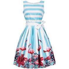 Sleeveless Floral and Striped Dress with Belt (50 TND) ❤ liked on Polyvore featuring dresses, gamiss, belted dresses, print dresses, striped floral dress, striped dresses and dresses with belts
