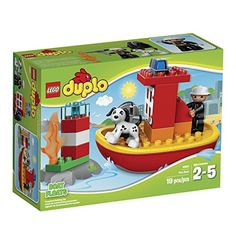 Get set for a seaside rescue with the LEGODUPLO Fire Boat! The buildable LEGODUPLO Fire Boat comes with a firefighter LEGO DUPLO figure rescue dog lighthouse flame and a hose. Cruise to the res...