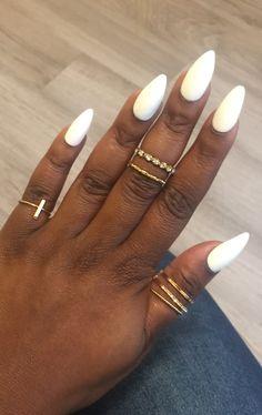 White Stiletto Nails, White Acrylic Nails, Almond Acrylic Nails, Summer Acrylic Nails, Best Acrylic Nails, White Summer Nails, Almond Shape Nails, White Almond Nails, Long Almond Nails
