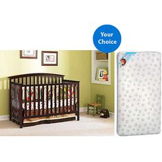 Graco Freeport 4-in1 Convertible Crib (Your Choice Finish) and Kolcraft Mattress Set