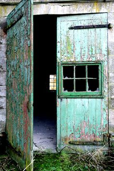 Turquoise painted over green on doors in an overgrown courtyard of Dunmore Park Stables in Airth, Scotland.