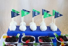 The golf flag cake pops are too lovely! by Emily Allen Cann Golf Ball Cake, Golf Cupcakes, Baby Birthday, Birthday Parties, Birthday Ideas, Golf Party Decorations, Leaving Party, Golf Theme, Party Flags