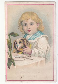 In Him we Live and More Child with Puppy Dog Religious Victorian Card c1880s