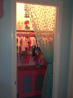 Idea: Take The [terribly Ugly] Doors Off The Closet And Use Fabric Instead