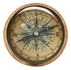 "Brass Plated Compass Desktop Paper Weight (4.5"" Diameter)"