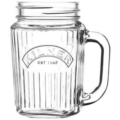 Kilner Vintage Handled Drinking Jar Glass Clear 400ml found on Polyvore featuring home, kitchen & dining, drinkware, vintage glass jar, kilner jars, green jars, glass jars and vintage glassware