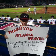 Cheers to you, Brett! Made me cry! Fan Signs, Atlanta Braves, Love Of My Life, Cheers, Crying, Baseball Cards, Country, Sports, Rural Area