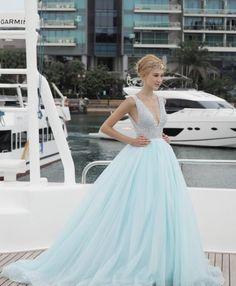 Light Blue V-Neck Prom Dress,Floor Length Prom Dresses